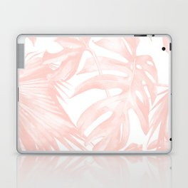 Tropical Leaves Pink and White Laptop & iPad Skin