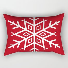 Snowflake on Holly Berry Red Rectangular Pillow