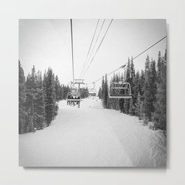 Ski Chair Lift B&W \\ Deep Snow Season Pass Dreams \\ Snowy Winter Mountains Landscape Photography Metal Print