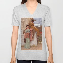 "John William Godward ""Waiting for the procession"" Unisex V-Neck"