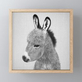 Donkey - Black & White Framed Mini Art Print
