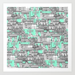 Paris toile aquamarine Art Print