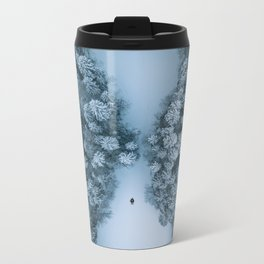Man lying in the snow on a frozen lake in a winter forest - Landscape Photography Metal Travel Mug