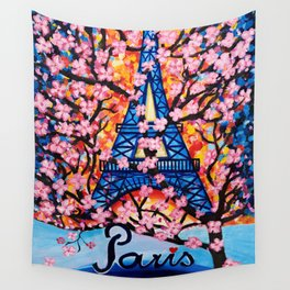 Paris Cherry Blossoms Wall Tapestry