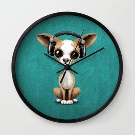 Cute Chihuahua Puppy Dog Wearing Headphones on Blue Wall Clock