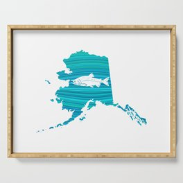 Alaska Wave Salmon Fishing Serving Tray