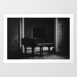 old piano in abandoned mansion Art Print