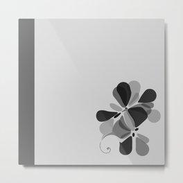 Soft and Deep Gray Flower Design Metal Print