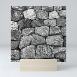 Stone Wall Blocks in Grey and Charcoal Granite Mini Art Print