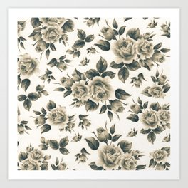 Country chic vintage black white bohemian floral Art Print