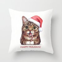 lil bub Throw Pillows featuring Lil Bub in Santa Hat with Candy Cane - Happy Holidays by Olechka