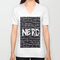 nerd V-neck T-shirts featuring Nerd by ALLY COXON
