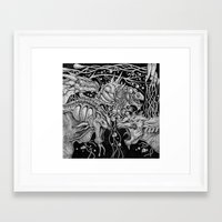 dragons Framed Art Prints featuring Dragons by Walid Aziz