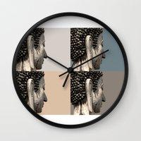 buddah Wall Clocks featuring buddah heads by Shane Williams