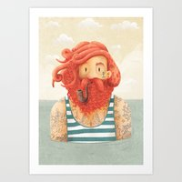 ginger Art Prints featuring Octopus by Seaside Spirit