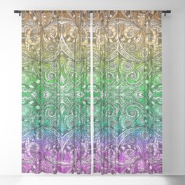 Drawing Floral Zentangle G206 Sheer Curtain