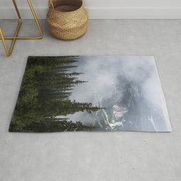 Foggy Mountains and Tree Tops | Alberta | Canada | Landscape Rug