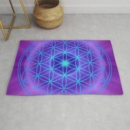 Flower Of Life Mandala - Blue Purple Rug