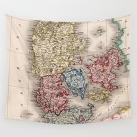 denmark Wall Tapestries featuring Vintage Map of Denmark (1838) by BravuraMedia