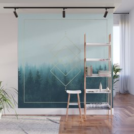 Foggy Blue Pine Forest Wall Mural