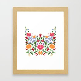 Hungarian folk pattern – Kalocsa embroidery flowers Framed Art Print