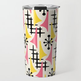 Mid Century Modern Atomic Wing Composition Pink & Yellow Travel Mug