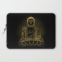 Golden Buddha on Black Laptop Sleeve