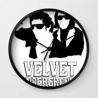 velvet underground Wall Clocks featuring VELVET UNDERGROUND W by zzglam
