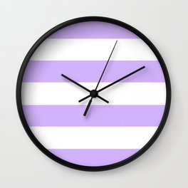 Light Purple and White Stripes Wall Clock