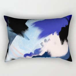 Back to You: an abstract, mixed-media piece in blues by Alyssa Hamilton Art Rectangular Pillow