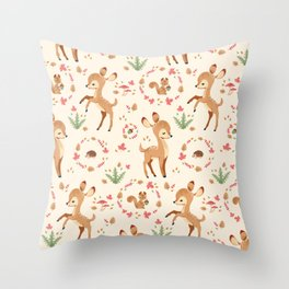 forest animals pattern Throw Pillow