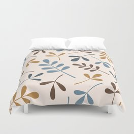 Assorted Leaf Silhouettes Blues Brown Gold Cream Duvet Cover