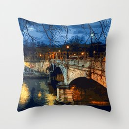 Rome, romantic nights Throw Pillow