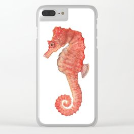 Red Seahorse Clear iPhone Case