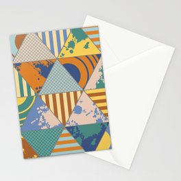 Multi Patterned Geometric Triangles Stationery Cards