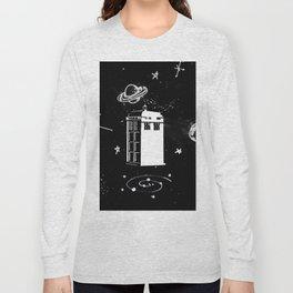 tardis black and white universe Long Sleeve T-shirt