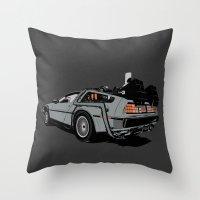 delorean Throw Pillows featuring DeLorean by CranioDsgn