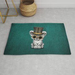 Steampunk Snow Leopard Cub on Blue Rug