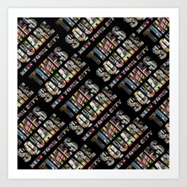 Times Square New York City (diagonal type on black) Art Print