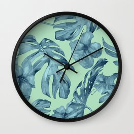 Tropical Leaves and Flowers Luxe Ocean Teal Blue Pastel Green Wall Clock
