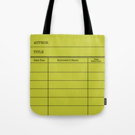 LiBRARY BOOK CARD (lime) Tote Bag