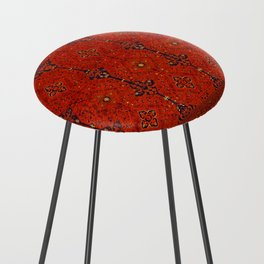 N194 - Red Berber Atlas Oriental Traditional Moroccan Style Counter Stool