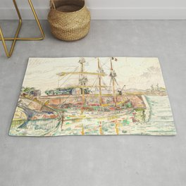 "Paul Signac ""Docks at Saint Malo"" Rug"