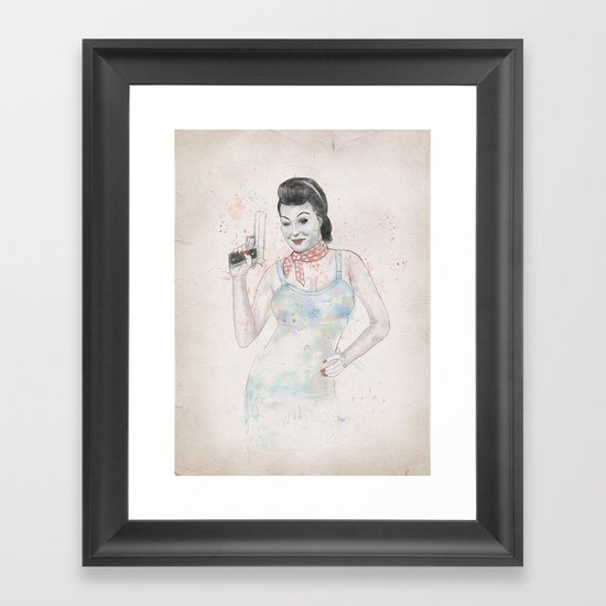 posing with gun 2 Framed Art Print