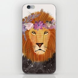 Lion with flowers on head iPhone Skin