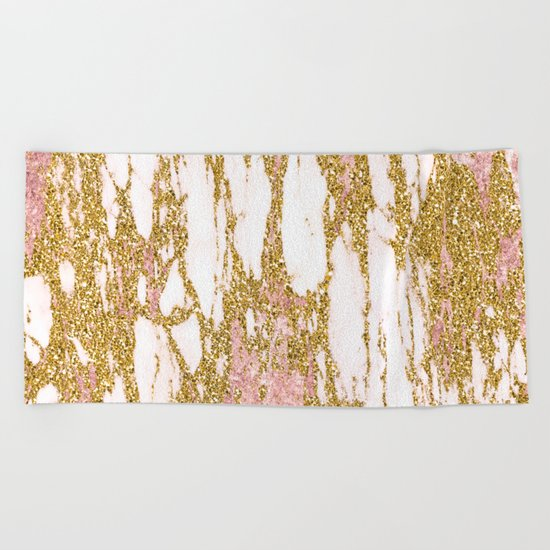Gold Marble - Intense Glittery Yellow and Rose Gold Marble Beach Towel