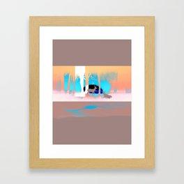 Sunset in forest Framed Art Print