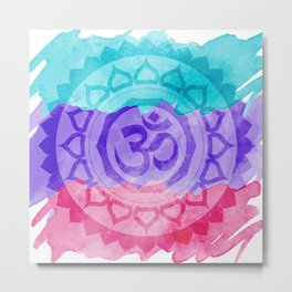 Watercolor Om Mandala Metal Print