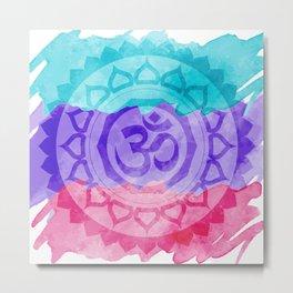 Watercolor Om Mandala Metal Print