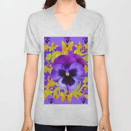 PURPLE PANSIES YELLOW BUTTERFLIES ABSTRACT FLORAL Unisex V-Neck